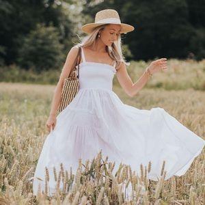 ASOS Smocked White Midi Dress